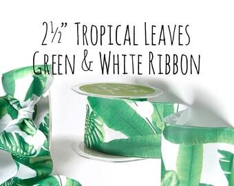 "2.5"" Tropical Leaf Ribbon, Wide White and Green Leaves, Banana Leaf Ribbon, Palm Leaves Ribbon, Gift Wrap, Hair Ribbon, Craft Supplies"