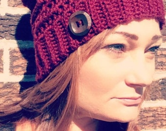 Crochet handmade slouchy hat, slouchy beanie, slouch hat, crochet hat, women's winter hat, women's warm hat, hat with Pom Pom,