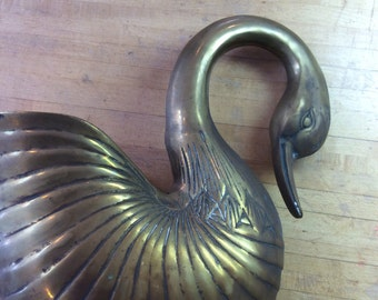 Vintage brass duck planter-brass figurine-vintage home decor