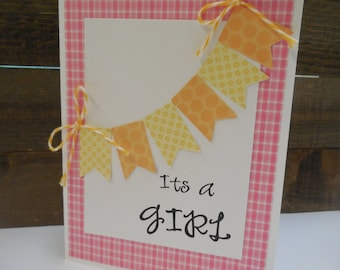 SALE, SALE, It's A Girl Card kit, Premade Baby Girl Cards, Handmade Card Kit, Handmade It's a Girl Card Kit, baby girl cards