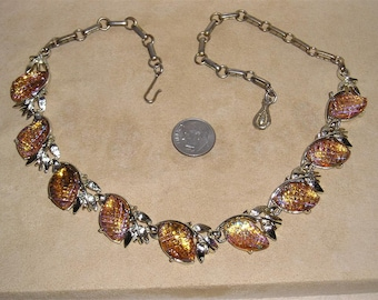 Vintage Signed Coro Iridescent Waffle Glass Necklace Late 1950's Jewelry