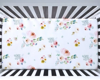 Fitted crib sheet. Blush Floral watercolor flowers roses pink spring peonies lilac purple violet watercolor. Organic crib sheet (#0342)