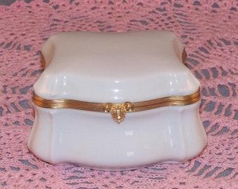 Exquisite White Trinket Box // Porcelain // Limoges // France // Elegant //