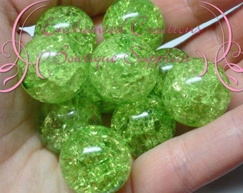 20mm Lime Green Crackle Beads, Chunky Beads, Bubblegum Beads, Gumball Beads, Chunky Jewelry Beads, Acrylic, Gum Ball Bead, Large Bead