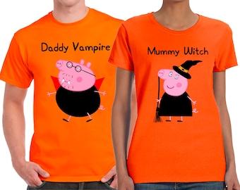Halloween, Daddy Pig, Mummy Pig, Vampire Dad, WItch Mom, Halloween Couples, Couples Shirts, Couples Tshirts, Haloween Shirts