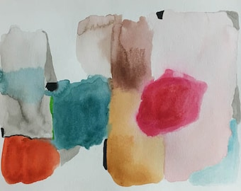 watercolor abstract landscape 9 X 12 original contemporary art