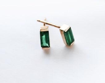 14k Gold Natural Green Emerald Baguette Earrings