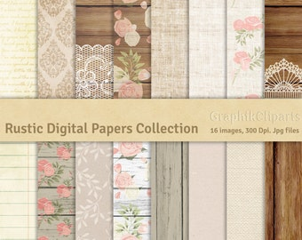 Rustic Digital Papers Collection. Wood with Roses, Burlap-Linen, Rustic Textures. 16 images, 300 Dpi. Jpg files. Instant Download.