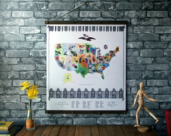United States Flower Map / Vintage Pull Down Chart Reproduction / Canvas Fabric Print / Oak Wood Poster Hanger with Brass / Wall Hanging