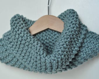 Snood, cowl neck knitted handmade 100% cotton