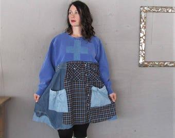 Sale upcycled Sweatshirt tunic dress Boho clothing 1X 2X fun Patchwork Artsy tunic Wearable Art Bohemian office attire LillieNoraDryGoods