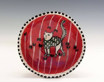 Kitten Princess  - Original Painting by Jenny Mendes in a Hand Pinched Ceramic Finger Bowl
