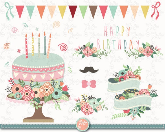 Flower Birthday clip art FLORAL BIRTHDAY clipart