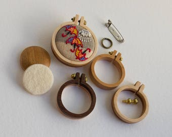 NO laser Mini hoop embroidery frame KIT - Premium hardwood - Two tone reversible - (MH25-R) - 25 mm