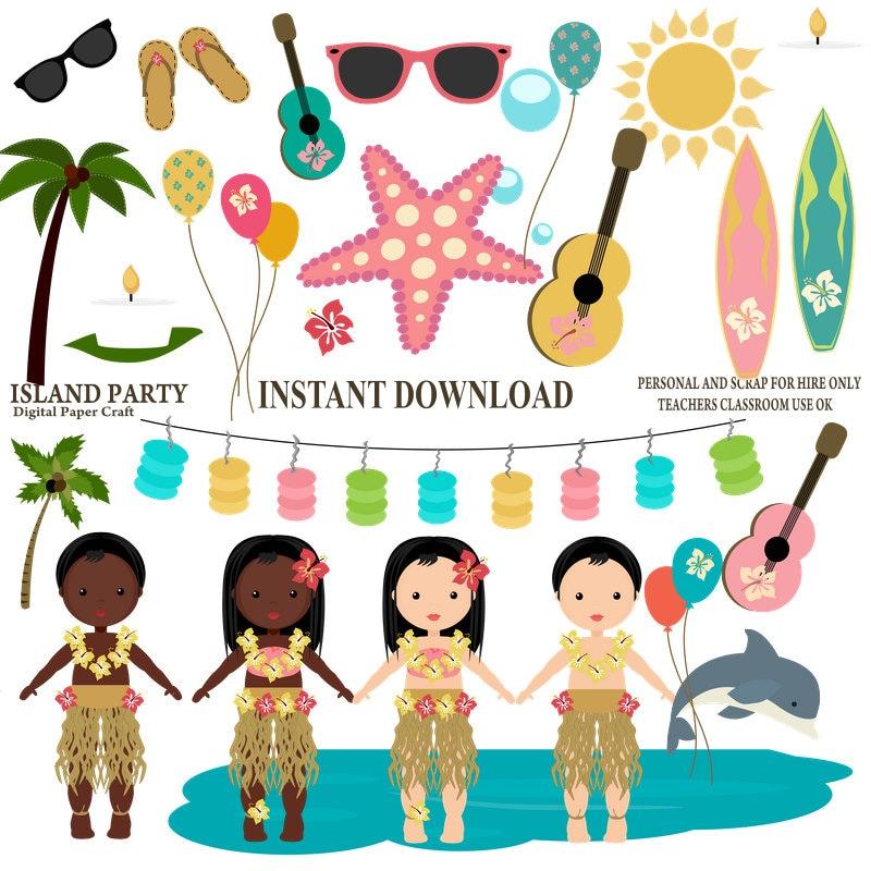 island party clipart hawaiian clipart luau clipart instant rh etsy com free hawaiian clip art images free hawaiian clip art borders
