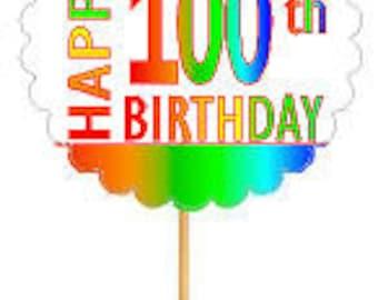 Happy 100th Birthday Rainbow Cupcake Decoration Topper Picks -12pk