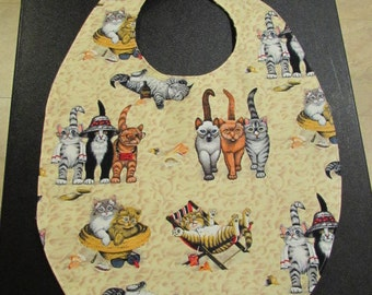 Small Adult Clothing Protector Bib with Cat pattern ( #687)