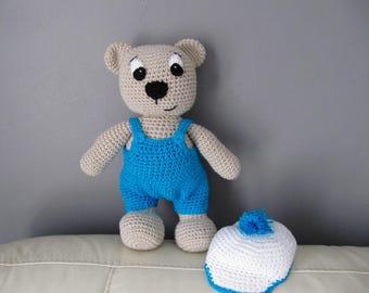 Teddy bear cotton overalls