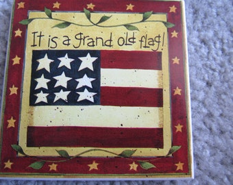 Vintage Absorbent Four Coaster Set American Flag It is a grand old flag! In Original Box 2875