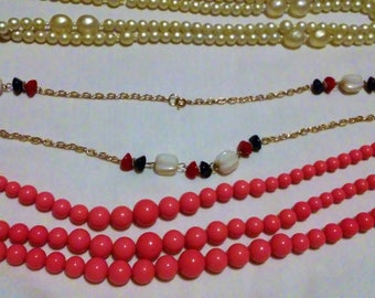 Costume Jewelry Necklaces - 3 pcs, Faux Pearls, Beads and Stones, Fashion Jewelry