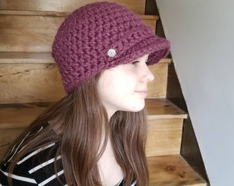 Newsboy Cap / Handmade / Hat with visor / hat with brim / warm winter hat / ready to ship / Wool / Acrylic / Fig /Light Purple/Mauve/purple