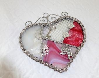 Pink Stained Glass Valentine Heart Suncatcher, Patchwork Heart, Stained Glass Suncatcher - Cupid