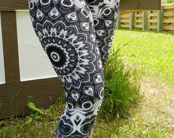 Capri Leggings Black, Mandala Yoga Pants, Monochrome Leggings, Black and White Festival Clothing