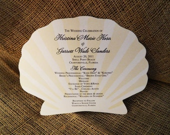 Set of 25+ Seashell Design Wedding Program Fan custom colors available