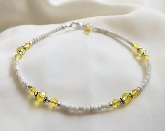 Anklet - Beaded Anklet -  Crystal Seed Bead Anklet - Yellow Crystal  Bead Anklet - Summer Sun Anklet -