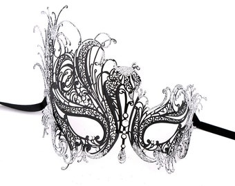 Luxury Mask Women's Swan Metal Filigree Laser Cut Venetian Masquerade Mask Black With Silver Glitter