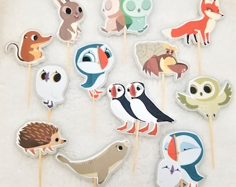 Puffin Rock Cupcake Picks/Toppers - FREE SHIPPING