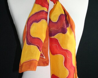Handpainted Silk Scarf. Golden Terracotta Hand Painted Silk Scarf. Burgundy Handmade Scarf GOLDEN WAVES. 8x54. Birthday, Anniversary Gift
