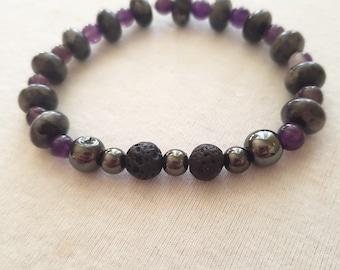 Labadorite, Amethyst, Hematite, Magnet & Lava Stone Aromatherapy Bracelet