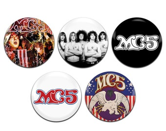 5x MC5 Band Rock Garage 60's 25mm / 1 Inch D Pin Button Badges