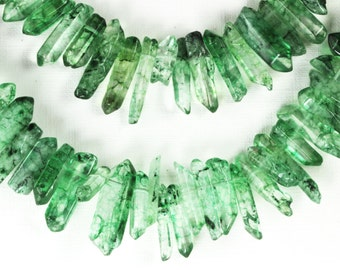 Transparent Green Quartz Points Dagger Shape Green Crystal Points Polished Stick Beads Your Choice 5,10 Gems Mixed Sizes 19mm-28mm, Loose KJ