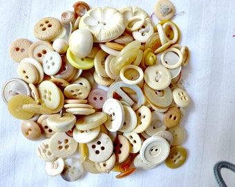 Buttons Light Beige and Off White Bulk Lot of Buttons