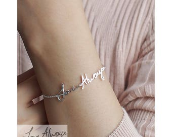 Personalized Gift / Actual Handwriting Bracelet / Custom Handwriting Bracelet / Name Bracelet / Bridesmaid Gift / Valentine's gift - HB16