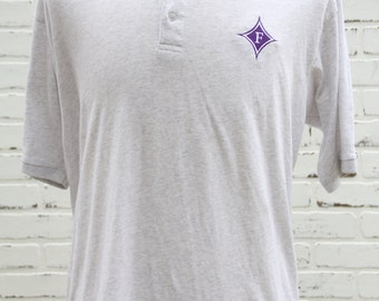 90's Vintage Furman University Heather Gray Soft Polo Shirt Greenville South Carolina Paladins Size Large