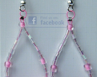 Beautiful pink beaded dangly hoops
