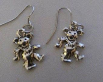 Tibetan Silver Dancing Bear Earrings or Corded Necklace