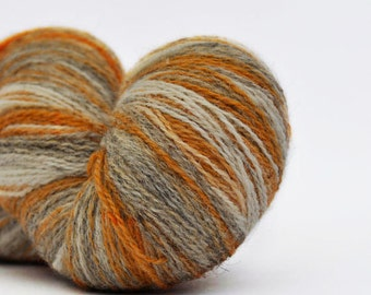 Kauni Wool Yarn 8/2 Color EN, Self-Striping, Mustard Yellow, Grey and Vanilla White