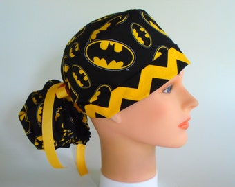 Batman  fabric Ponytail - Womens lined surgical scrub cap, scrub hat, surgical hat, Nurse cap, 103/103-900 B