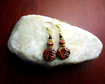 Red, Black, and Gold Wire Wrapped Polymer Clay Earrings