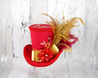 Embroidered Red and Gold Empress Collection Large Mini Top Hat Fascinator, Alice in Wonderland, Mad Hatter Tea Party, Derby Hat