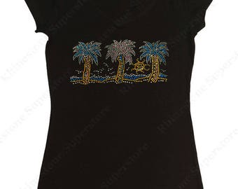 "Women's Rhinestud T-Shirt "" Sunshine & Palm Trees "" in S, M, L, XL, 2X, 3X"
