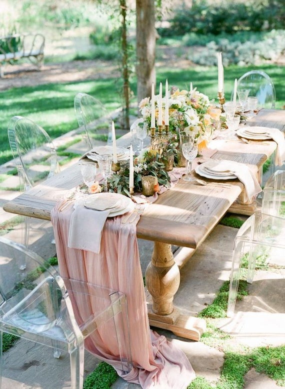 Farm Table Flowy Chiffon Table Runner We Do Custom Sizes