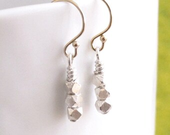Tiny Silver Nugget Trio Stack Drop Dangle Earrings 14k Gold Filled or Sterling Silver Ear Wire DJStrang Boho Chic