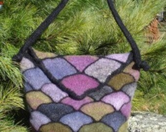 Felted Stained Glass Bag with Flap - knit