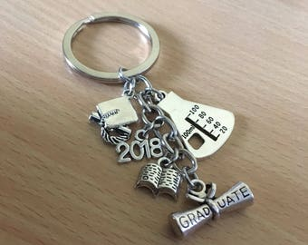Graduate Keyring - Science Graduate Keyring Erlenmeyer Flask Keychain Biology/Chemistry - Applied Sciences Graduate