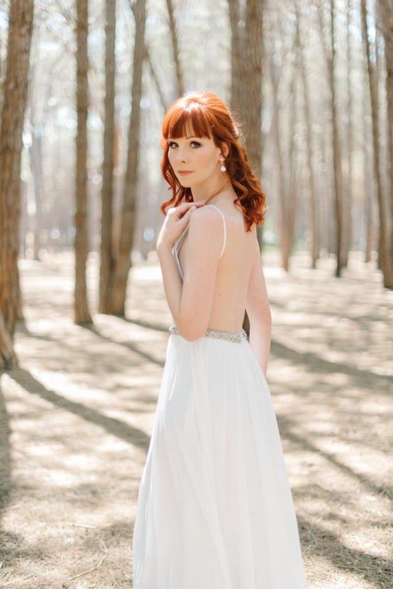 Einfache Strand Hochzeit Kleid/rückenfreie Boho Hochzeit